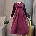 זול מדבקות קיר-עד הברך טלאים, אחיד - שמלה ישרה משוחרר קטיפה מידות גדולות סגנון רחוב אלגנטית ליציאה בגדי ריקוד נשים