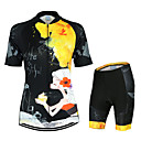 cheap Cycling Jersey & Shorts / Pants Sets-Arsuxeo Women's Short Sleeve Cycling Jersey with Shorts Black / Yellow Floral Botanical Bike Clothing Suit Breathable Quick Dry Anatomic Design Back Pocket Sports Polyester Elastane Floral Botanical
