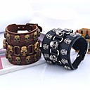 cheap Men's Bracelets-Men's Layered Retro Vintage Bracelet Leather Bracelet - Leather Skull Stylish, Vintage, Punk Bracelet Black / Brown For Street Bar
