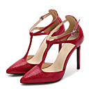 cheap Women's Heels-Women's Strappy Stacked Heels PU(Polyurethane) Summer Sweet Heels Stiletto Heel Pointed Toe Buckle Black / Red / Almond / Party & Evening