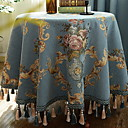 cheap Table Cloths-Contemporary Cotton Round Table Cloth Geometric Table Decorations 1 pcs