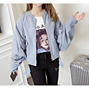 cheap Anime Action Figures-Women's Going out Regular Jacket, Solid Colored Round Neck Long Sleeve Polyester Light Blue M / L / XL