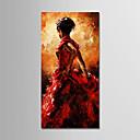 olcso Divat fülbevalók-Hang festett olajfestmény Kézzel festett - Absztrakt / Emberek Modern Tartalmazza belső keret / Nyújtott vászon