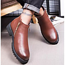 זול מגפיים לגברים-בגדי ריקוד גברים נעלי נוחות עור סתיו חורף מגפיים מגפונים\מגף קרסול שחור / חום