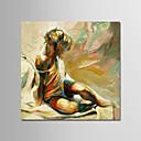 tanie Obrazy: motyw ludzi-Hang-Malowane obraz olejny Ręcznie malowane - Abstrakcja / Ludzie Nowoczesny Naciągnięte płótka / Rozciągnięte płótno