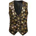 cheap Movie & TV Theme Costumes-Men's Work / Birthday Business / Vintage Spring & Summer / Fall & Winter Regular Vest, Print V Neck Sleeveless Cotton / Spandex Print Gold / Silver L / XL / XXL / Business Casual