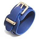 baratos Colares-Mulheres Clássico Pulseiras de couro Pulseira larga - senhoras, Fashion, Elegante Pulseiras Jóias Marron / Vermelho / Azul Para Bandagem Bagels