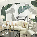 cheap Wall Murals-Wallpaper / Mural Canvas Wall Covering - Adhesive required Art Deco / Trees / Leaves / Word