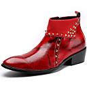 baratos Botas Masculinas-Homens Fashion Boots Pele Napa Inverno Formais Botas Manter Quente Botas Cano Médio Preto / Vermelho Escuro / Festas & Noite