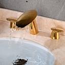Недорогие Для умывальника-Ванная раковина кран - Водопад / Творчество Золотой Разбросанная Две ручки три отверстияBath Taps