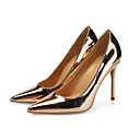 cheap Women's Sandals-Women's Pumps Patent Leather Spring &  Fall British / Minimalism Heels Stiletto Heel Pointed Toe Gold / Silver / Wedding / Party & Evening