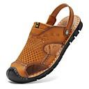 cheap Men's Sandals-Men's Comfort Shoes Nappa Leather Summer Vintage / Casual Sandals Breathable Brown / Khaki