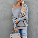 hesapli Moda Bileklikler-Kadın's Günlük Temel Solid Uzun Kollu İnce Normal Kazak, Düşük Omuz Sonbahar / Kış Pamuklu Gri / Şarap / Haki M / L / XL