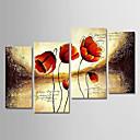 رخيصةأون تشمل الإطار الداخلي-هانغ رسمت النفط الطلاء رسمت باليد - الأزهار / النباتية الحديث تشمل الإطار الداخلي / أربع لوحات / امتدت قماش