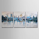 cheap Oil Paintings-Oil Painting Hand Painted - Abstract Modern Canvas / Three Panels