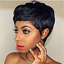 cheap Synthetic Capless Wigs-Remy Human Hair Lace Front Wig Brazilian Hair Body Wave Natural Wave Wig Bob Layered Haircut Side Part 130% Density with Baby Hair Natural Hairline African American Wig Plait Hair 100% Virgin Natural