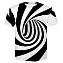 cheap Men's Boots-Men's Club Basic / Street chic T-shirt - Color Block Black & White, Print Round Neck / Short Sleeve