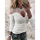 cheap Totes-Women's Street chic Shirt - Solid Colored Lace