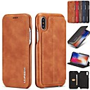cheap iPhone Cases-Case For Apple iPhone XR / iPhone XS Max Card Holder / with Stand / Flip Full Body Cases Solid Colored Hard Genuine Leather for iPhone XS / iPhone XR / iPhone XS Max