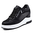 זול סניקרס לנשים-בגדי ריקוד נשים נעלי נוחות PU סתיו נעלי ספורט שטוח בוהן עגולה לבן / שחור