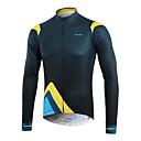 baratos Camisas Para Ciclismo-Arsuxeo Homens Manga Longa Camisa para Ciclismo - Azul + amarelo Criativo Moto Blusas, Redutor de Suor Polyster / Micro-Elástica / Construção em Painéis Múltiplos / Tinta Importada Itália