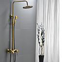 abordables Grifos de Ducha-Grifo de ducha - Tradicional Latón Envejecido Sistema ducha Válvula Cerámica / Sola manija Tres Agujeros