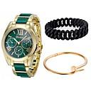 זול סניקרס לגברים-לזוג שעון יד קווארץ כרונוגרף שעונים יום יומיים צג גדול מתכת אל חלד להקה אנלוגי צמיד אופנתי שחור / לבן / כחול - כחול ורוד ירוק בהיר שנה אחת חיי סוללה