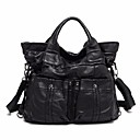 cheap Fitness Gear & Accessories-Women's Bags Sheepskin Tote Solid Color Black
