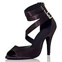 povoljno Ženske čizme-Žene Plesne cipele Saten Cipele za latino plesove Isprepleteni dijelovi Štikle Tanka visoka peta Crn / Nude / Seksi blagdanski kostimi / Vježbanje