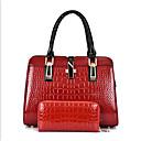 رخيصةأون مجموعات حقائب-نسائي أكياس PU مجموعات حقيبة 2 قطع محفظة مجموعة سحاب أبيض / أسود / أحمر