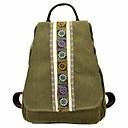 お買い得  バックパック-女性用 バッグ キャンバス バックパック 刺繍 アーミーグリーン