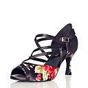 povoljno Cipele za latino plesove-Žene Plesne cipele Saten Cipele za latino plesove Cvijet / Isprepleteni dijelovi Sandale Deblja visoka potpetica Crna / Crvena / Vježbanje