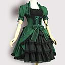 halpa Anime-asut-Söpö Lolita Casual Lolita mekko Söpö Lolita Viktoriaaninen Nainen Mekot Cosplay Vihreä Puhvihiha Lyhythihainen Polvipituinen Puvut
