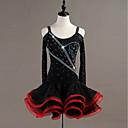 hesapli Dans kostümleri-Latin Dansı Elbiseler Kadın's Performans Splandeks / Organze Kristaller / Yapay Elmaslar Uzun Kollu Elbise