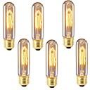 baratos Incandescente-6pcs 40 W E26 / E27 T10 Branco Quente 2200-2700 k Retro / Regulável / Decorativa Incandescente Vintage Edison Light Bulb 220-240 V