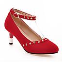 hesapli Kadın Topukluları-Kadın's Ayakkabı Süet / Mikrofiber Bahar Topuklular Stiletto Topuk Günlük için Siyah / Kırmzı