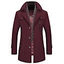 cheap Men's Slip-ons & Loafers-Men's Daily Regular Coat, Solid Colored Shirt Collar Long Sleeve Wool Camel / Navy Blue / Wine XL / XXL / XXXL