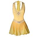 זול בגדי ריקוד לילדים-בגדי ריקוד נשים החלקה על הקרח ושמלות / שמלות צהוב & צהוב פתוח בגב ספנדקס סטרצ'י (נמתח) / גמישות גבוהה בגדי שטח / לבוש אקטיבי / תחרות ביגוד להחלקה על הקרח עיקול / קלאסי שרוול ארוך החלקה