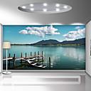 billige Vegglamper-bakgrunns / Veggmaleri Lerret Tapetsering - selvklebende nødvendig Trær / blader / Linjer / bølger / 3D