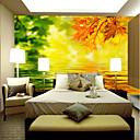 povoljno Zidne tapete-tapeta / Mural Platno Zidnih obloga - Ljepila potrebna Drveće / lišće / Linije / valovi / 3D