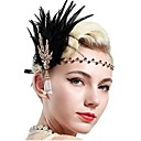 cheap Historical & Vintage Costumes-The Great Gatsby Vintage 1920s Costume Women's Flapper Headband Headwear Black / Golden Vintage Cosplay Feather Party Prom Sleeveless