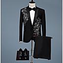 levne Ozdoby do vlasů na večírek-Pánské Párty Větší velikosti Standardní Obleky, Tisk Do V Dlouhý rukáv Bavlna Černá XXL / XXXL / 4XL
