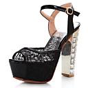 hesapli Kadın Sandaletleri-Kadın's Ayakkabı PU Bahar Sandaletler Kalın Topuk Günlük için Beyaz / Siyah