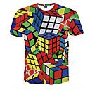 preiswerte Rubiks Würfel-Herrn Einfarbig - Street Schick Übergrössen T-shirt, Rundhalsausschnitt Zauberwürfel / Kurzarm