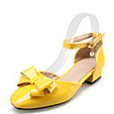cheap Women's Flats-Women's Patent Leather / PU(Polyurethane) Spring & Summer Heels Chunky Heel Square Toe Bowknot / Imitation Pearl / Buckle Yellow / Red / Blue