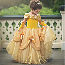 billiga Film- och TV-kostymer-Prinsessa Belle Vintage Kostym Flickor Klänningar Festklädsel Purpur / Gul / Rosa Vintage Cosplay Ärmlös T-shirt