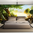 cheap Wallpaper-Wallpaper / Mural Canvas Wall Covering - Adhesive required Trees / Leaves / Lines / Waves / 3D