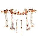povoljno Modne ogrlice-Žene Crvena Kosa Palice Vintage Style Gypsophila Etnikai Imitacija bisera Naušnice Jewelry Crvena Za Vjenčanje Party 1set
