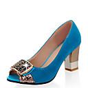 baratos Sapatos de Salto-Mulheres Sintéticos Primavera Verão Saltos Salto Robusto Peep Toe Pedrarias Fúcsia / Verde / Azul / Festas & Noite