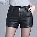 povoljno Kožne hlače i suknje-Žene Veći konfekcijski brojevi Dnevno Izlasci Kratke hlače Hlače - Jednobojni Zima Crn XXL XXXL XXXXL